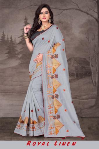Right One Fashion Royal Linen Wholesale Sarees Catalog Wholesale Catalog