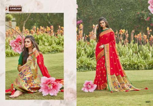 Sangam Prints Pattu Silk 5001-5006 Series  wholesale saree catalog