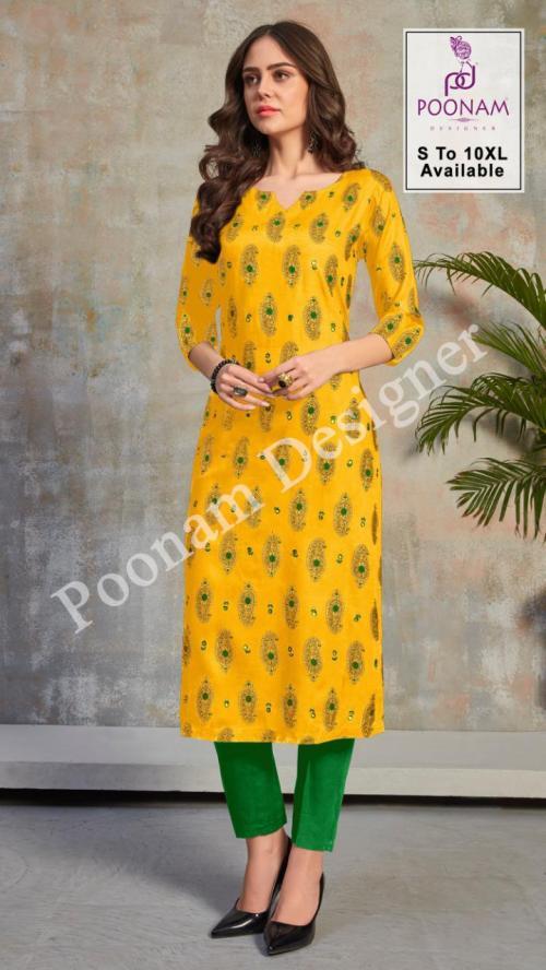 Poonam Designer Mina Kari 1001-1008 Series wholesale Kurti catalog