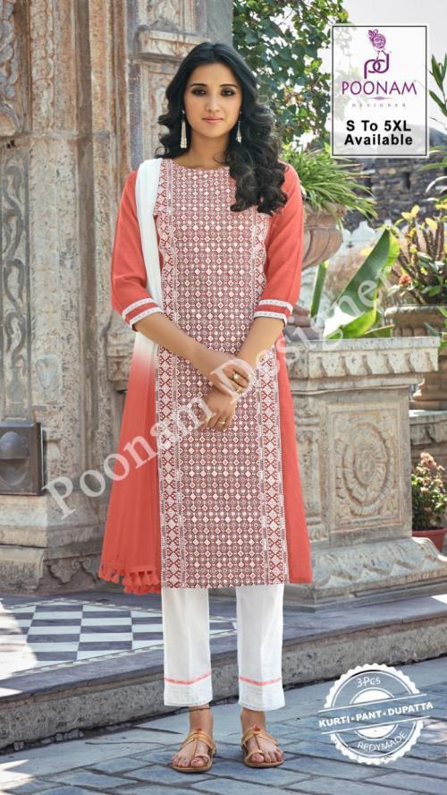 Poonam Designer Gorgeous Lucknowi 1001-1006 Series wholesale Kurti catalog