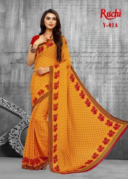 Ruchi Saree Super Kesar Chiffon wholesale saree catalog